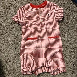 Ralph Lauren red striped shortall